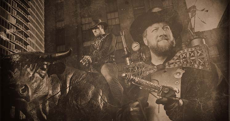 Steampunks with Major the Bull