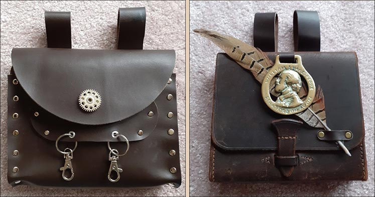 Leather steampunk belt bags