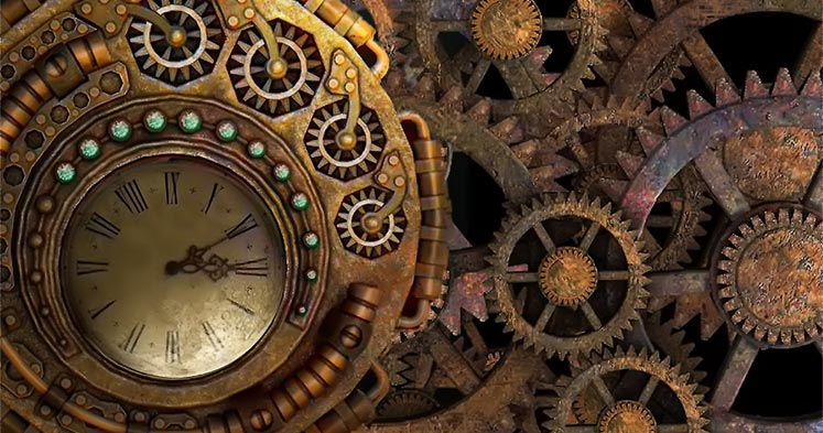 Steampunk clock and gears