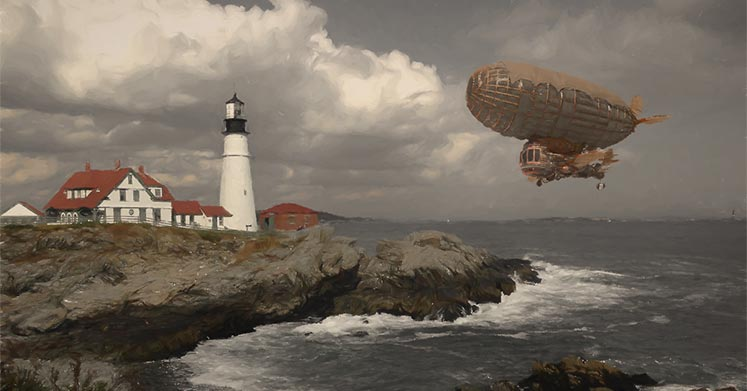 Airship descending on lighthouse