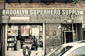 The outside of The Brooklyn Superhero Supply Company